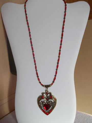 Bronze Red Cone Glass Bead Heart Pendant Necklace (N1141)