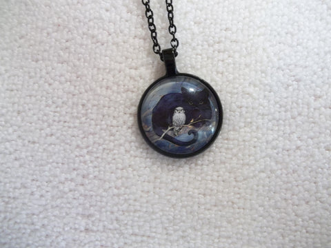 Black Bubble Pendant Cat with Owl Necklace (N1154)