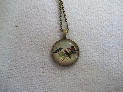 Bronze Bubble Pendant Four Birds Necklace (N1159)