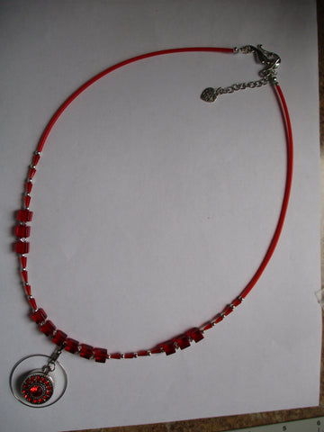 Red Glass Bead Silver Snap Button Pendant Necklace (N1162)