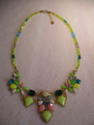 Gold Yellow Blue Green Glass Bead Bib Necklace (N1184)