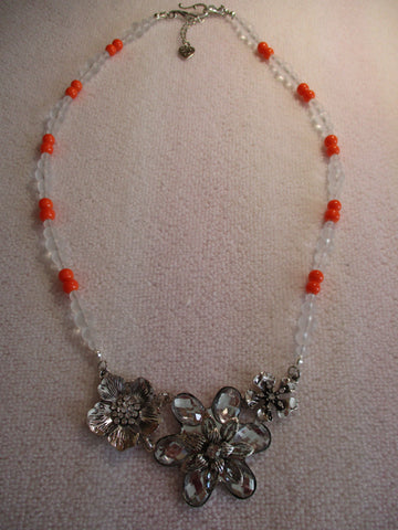 Silver Orange White Frost Glass Beads Three Flower Pendant Necklace (N1190)