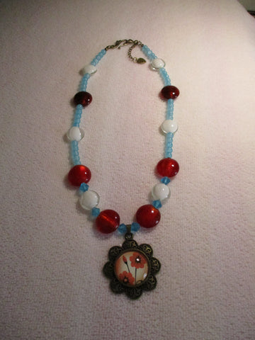 Bronze Blue White Red Glass Beads Flower Pendant (N1192)