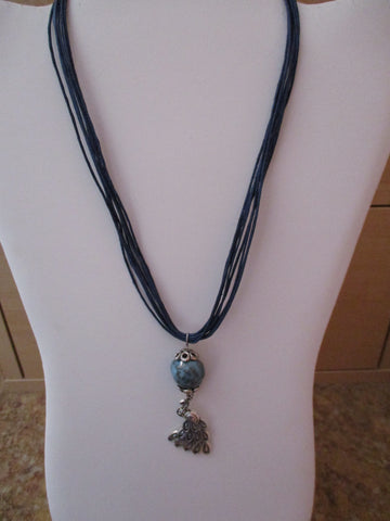 Blue Twine Blue Clay Bead Silver Peacock Pendant Necklace (N1194)
