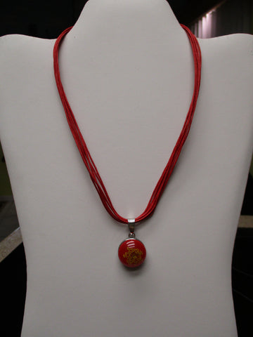 Red Twine Red Dried Flowers Snap Button Pendant Necklace (N1197)