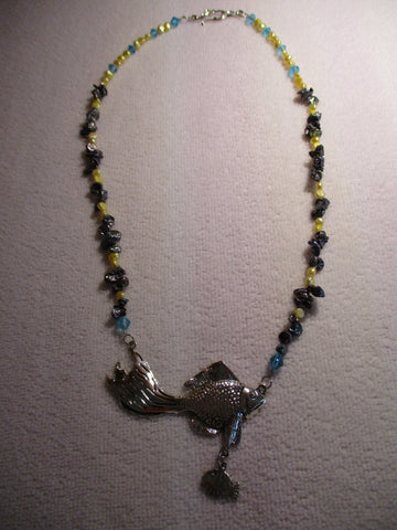 Blue Yellow Beads Gray Mother of Peal Chips Silver Fish with hanging Fish Necklace (N1203)