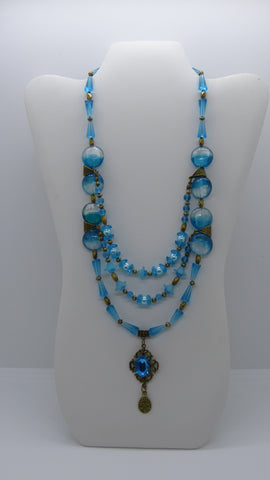 Bronze Blue Glass Beads 3 Strands Pendant Necklace (N1205)