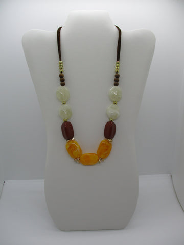 Brown Leather White Brown Yellow Chunky Beads Necklace (N1212)