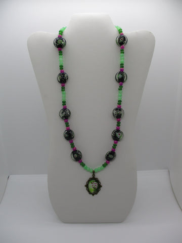 Bronze Black Green Pink Glass Beads Flower Pendant Necklace (N1215)