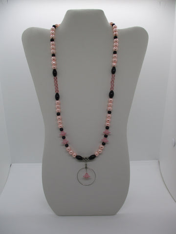 Silver Pink Black Glass Beads Pink Pearls Flowers Silver Circle Flower Pendant Necklace (N1219)