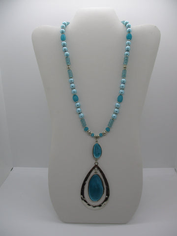 Silver Blue Glass Beads Blue Pearls Double Tear Drop Pendant Necklace (N1224)