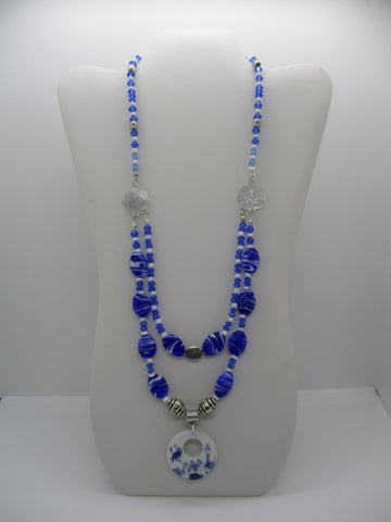 Silver Blue Glass Beads Double Strand Porcelain Bird Necklace (N1226)