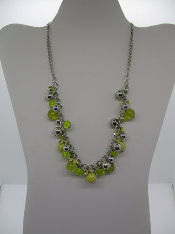 Multi Yellow Glass Beads Silver Beads Chain Necklace (N1230)