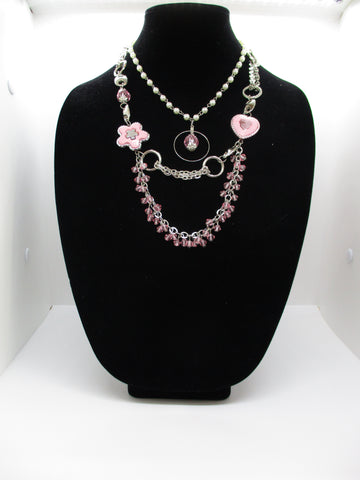 Three layers Silver Rings Chains White Pearls Pink Beads Pink Flower Heart Pendants Necklace (N1237)