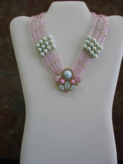 4 Strands Pink Crystal Light Green Pearls Glod Pendant Choker Necklace (N1250)