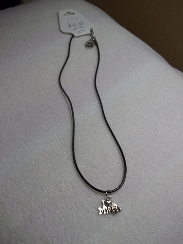 Black Leather Silver I love my Dog Necklace (N149)