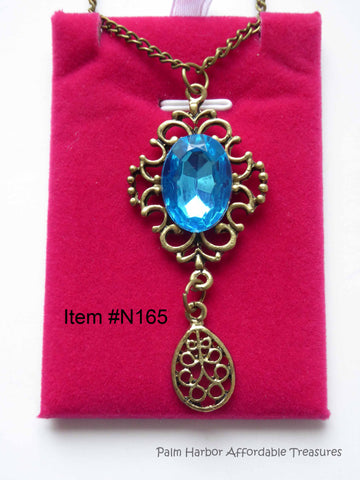 Bronze Retro Hollow Blue Gem Drop Necklace