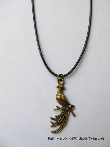 Black leather/bronze Peacock Necklace (N185)