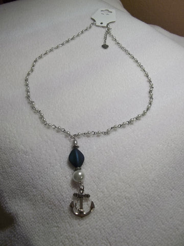White pearl/silver w/blue beads Necklace w/Anchor (N186)