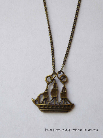 Bronze Tall Ship Necklace (N187)