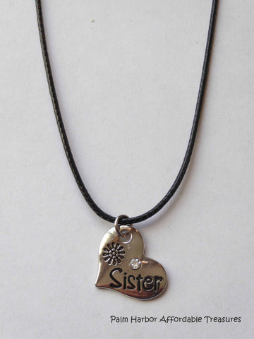 "Black Leather/silver ""Sister"" Necklace (N191)"