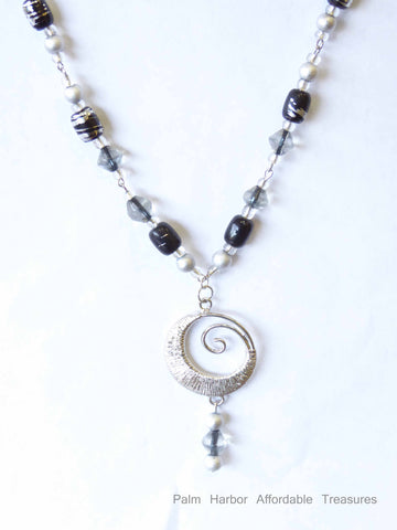Silver/black/gray/clear bead w/silver circle Necklace (N196)