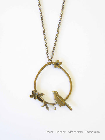 Bronze Bird sitting in circle w/flowers Necklace (N200)