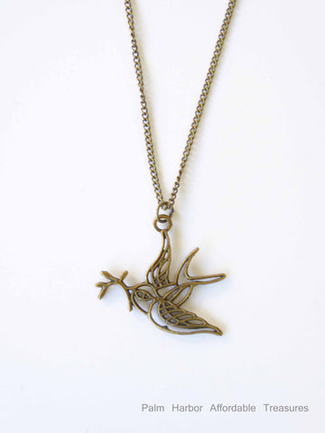 Bronze hollow bird w/branch Necklace (N202)