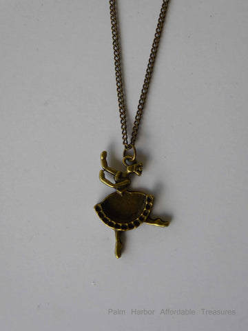 Bronze Ballerina Necklace (N203)
