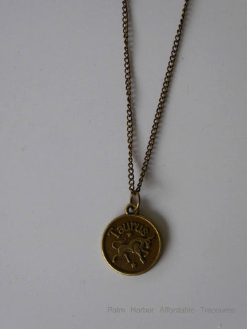 Bronze Taurus Zodiac Necklace (N211)