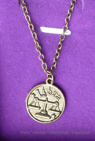 Libra Zodiac Necklace (N244S or N244B)