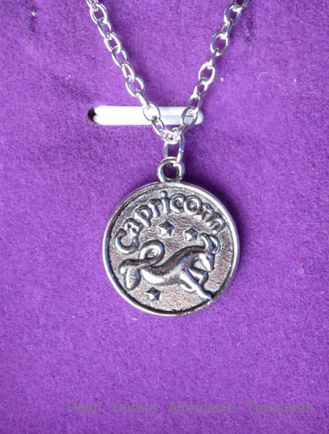 Capricorn Zodiac Necklace (N245S or N245B)