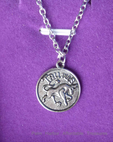 Silver Taurus Zodiac Necklace (N246)