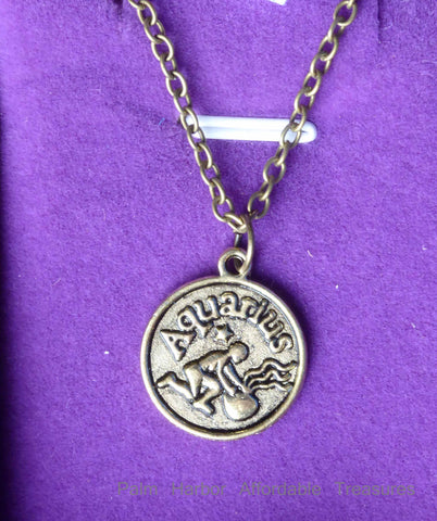 Aquarius Zodiac Necklace (N252S or N252B)