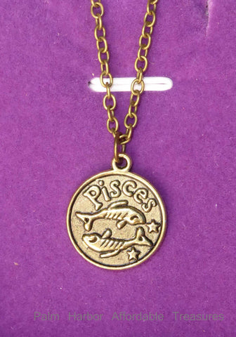 Bronze Pisces Zodiac Necklace (N255B)