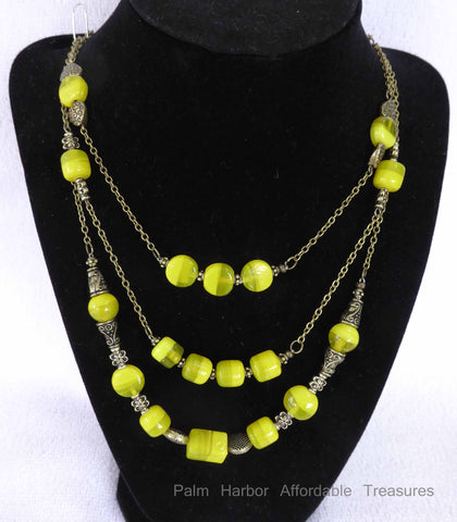 3 Chain Bronze w/Yellow Glass Bead Necklace (N256)