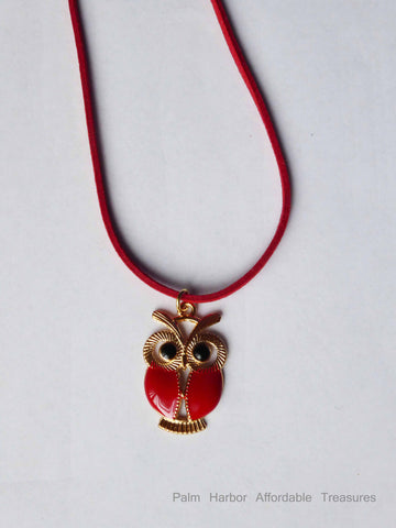 Retro Owl Necklace (N257 Red or N258 Blue)