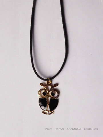 Black Leather Retro Black Owl Necklace (N259)