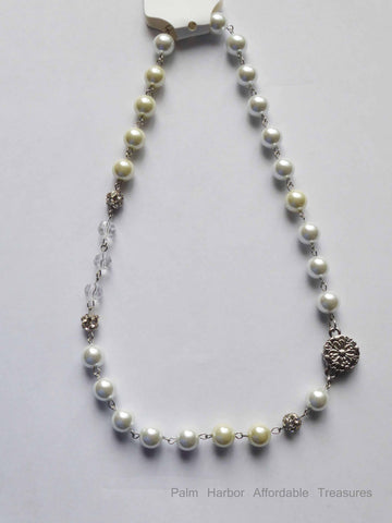Silver Snap Pearl Necklace (N261)