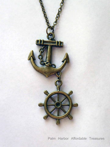 Bronze Anchor & Ships Wheel Necklace (N283)
