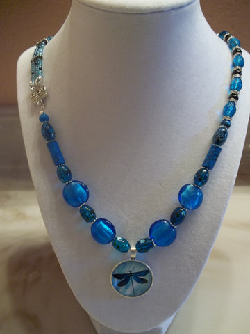 Bright Blue glass mixed bead Dragonfly Pendant Necklace (N289)