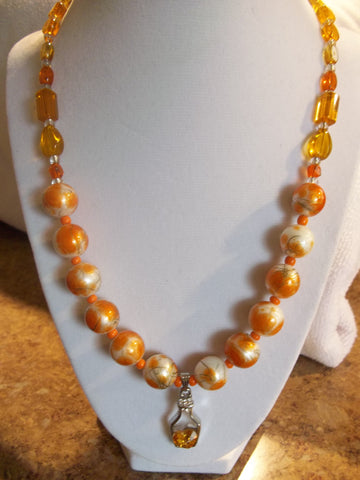Orange Glass Mixed beads w/Silver Bottle w/Orange Heart inside Necklace (N290)