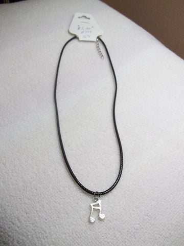 Black Leather Silver Note Necklace (N324)