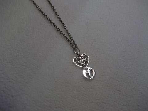 Silver Baby Feet Necklace (N342)