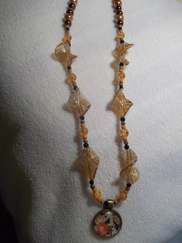 Peach Glass Leaf Beads Brown /Orange/Black Beads w/Flower Pendant Necklace (N353)