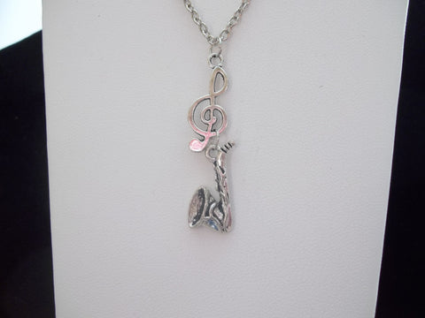 Silver Clef w/Flat Saxophone Necklace (N381)