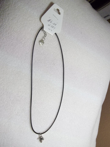 Black Leather Baby Pacifier Necklace (N387)