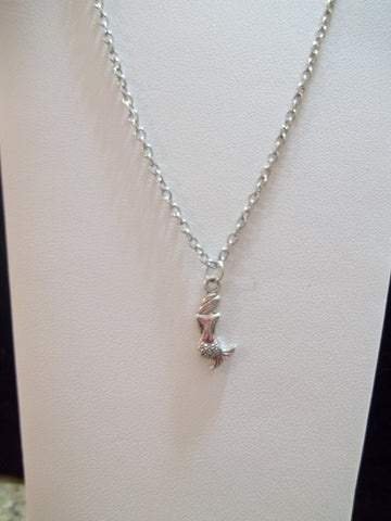 Silver Mermaid Back view Necklace (N391)