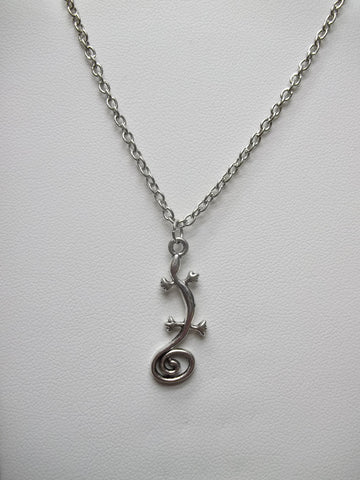 Silver Gecko Necklace (N396)