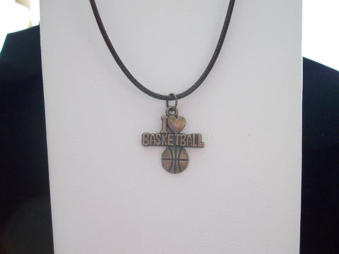 "Brown Leather ""I love Basket Ball"" Necklace (N401)"